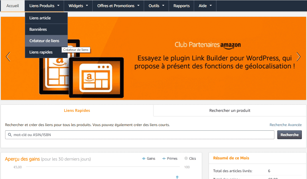 interface amazon partenaire